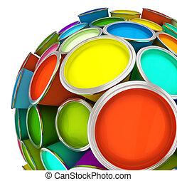 bancos, esfera, pintura, multicolor