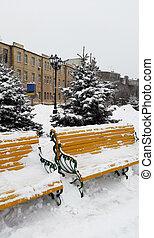 bancos, invierno, -, calle, kharkiv, amarillo