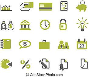 bancos, jogo, ícones negócio