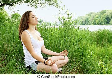 bancos, meditação, rio
