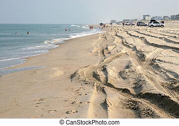 bancos, praia, exterior, carolina norte