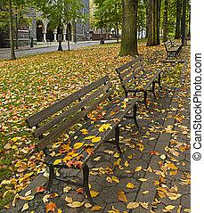 bancs, feuilles, parc, 2, automne, long