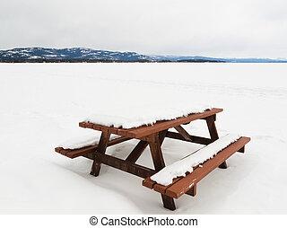 bancs, neigeux, surgelé, camp, lac, table, paysage