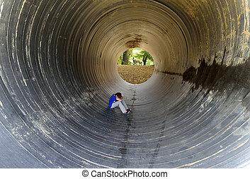 bancs, séance, tunnel, enfant, arbres, sous, arrière