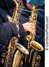 band., 市の, サクソホン