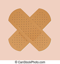 band-aid plaster in cross shape on pink background