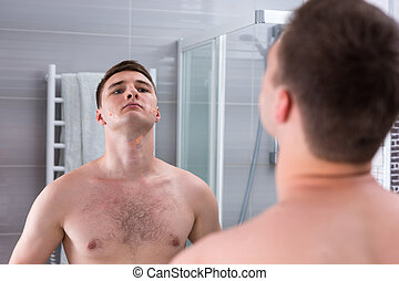 band-aid, mau, rosto, homem, após, raspar, seu, jovem