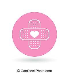 Band aid plaster heart icon. Bandage plaster love sign. Band aid plaster symbol. White plaster heart icon on pink circle background. Vector illustration.