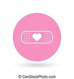 Band aid plaster heart icon. Bandage plaster love sign. Band aid plaster symbol. Vector illustration.
