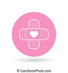 Band aid plaster heart icon. Bandage plaster love sign. Band...