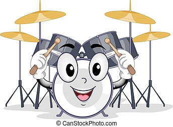 Band Drum Set Mascot - Mascot Illustration of a Drum Holding...