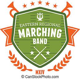 band, embleem, het marcheren