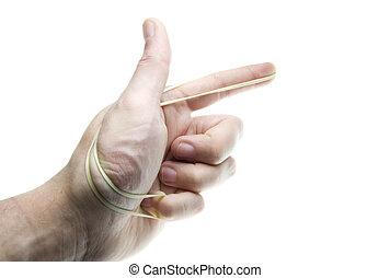 band, geweer, elastisch, hand