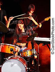 band, instrument., spelend, muzikalisch