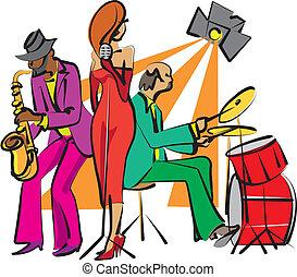 band, jazz, spelend, toneel