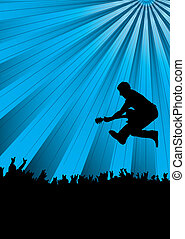 band jump - guitarist jumping into a crowd at a concert with...