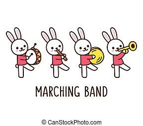 band, karikatur, kanninchen, marschieren