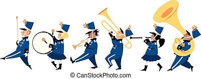 band, kinder, marschieren