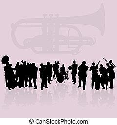 band, messing, satz, silhouetten