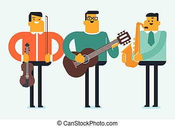 Band of musicians playing the musical instruments.