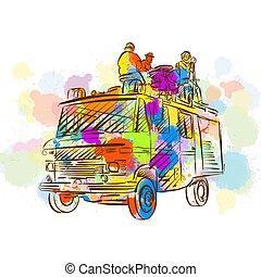 band, open, vrachtwagen, kleurrijke, lucht