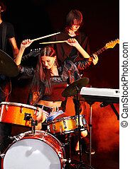 Band playing musical instrument. - Musical group playing in...
