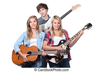 band, rehearsing, jonge