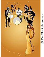 band, sångare, jazz, kvinnlig, &