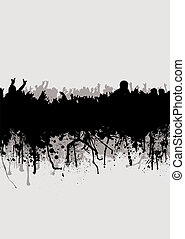 band splat - Grunge inspired crowd background in gray and...
