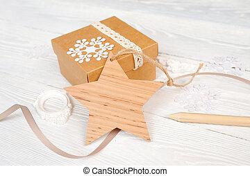 band, stjärna, gåva, mockup, trä, text, etikett, jul, bakgrund, bakgrund, vit, din