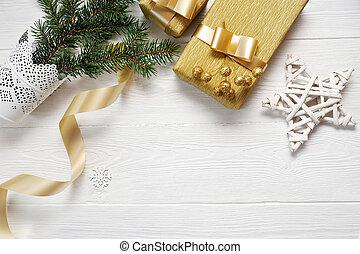 band, stjärna, guld, gåva, mockup, trä, text, jul, bakgrund, plats, flatlay, vit, din