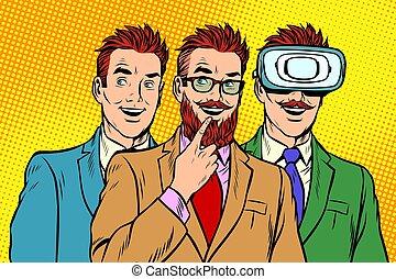 Band trendy retro businessmen, VR glasses