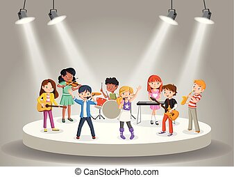 Band with cartoon children playing music on stage