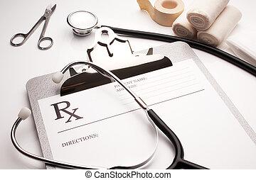 bandaże, stetoskop, recepta, pojęcie, rx