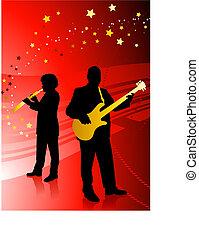 banda, żywa muzyka, czerwone tło