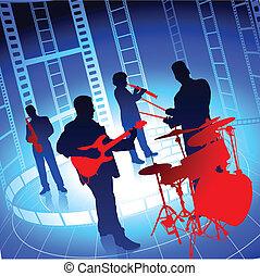 banda, żywa muzyka, tło, szpula, film