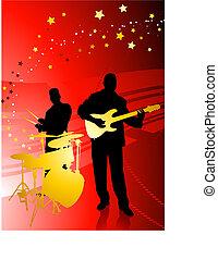 banda, abstrakcyjny, muzyka, czerwone tło