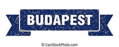 banda, azul, ribbon., budapest, señal, grunge