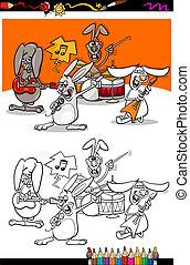 banda, conejitos, caricatura, libro, colorido
