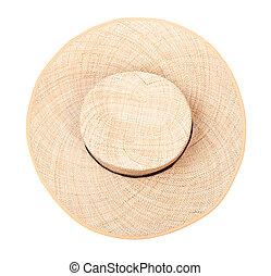 banda, corona, vista, cappello paglia, cima, nero
