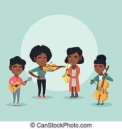 banda, de, músicos, juego, el, musical, instruments.