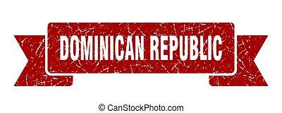 banda, dominicano, ribbon., rojo, república, señal, grunge