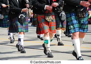 banda, escocés, marchar