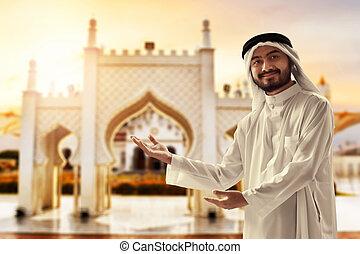 banda, indonesia, mezquita, joven, árabe, retrato, hombre, ...