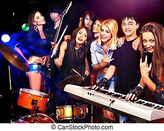banda, interpretacja, muzyczny, instrument.