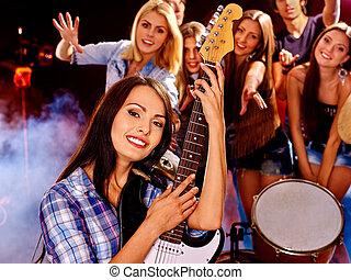banda, játék, zenés, instrument.