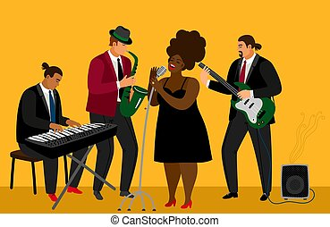 banda, jazz, illustrazione