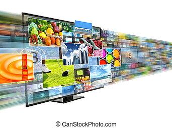 banda larga, flusso continuo, multimedia, internet, intrattenimento