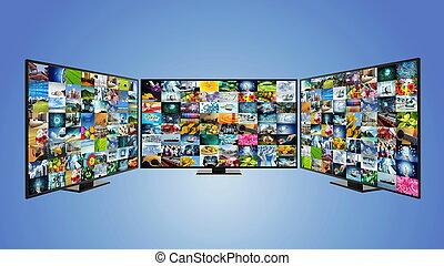 banda larga, tv, concetto, far male, internet