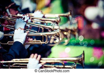 banda, latón, desfile